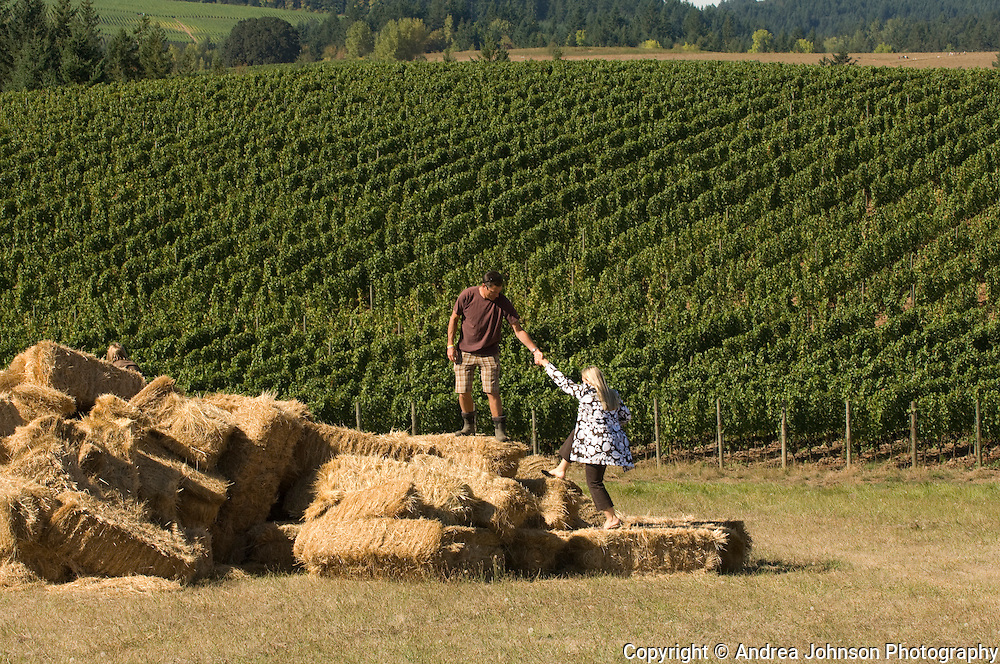 Paul & Kendall de Lancellotti standing in his de Lancellotti vineyard, Yamhill-Carlton AVA, Willamette Valley, Oregon