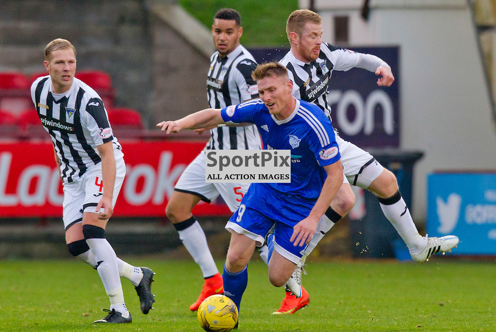 Dunfermline Athletic v Peterhead SPFL League One Season 2015/16 East End Park 07 November 2015<br /> Andy Geggan fouls Rory McAllister<br /> CRAIG BROWN | sportPix.org.uk