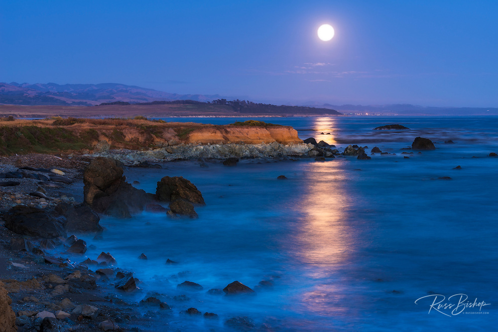Full moon rising over Piedras Blancas elephant seal rookery, San Simeon, California USA
