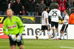 05.02.2010,  Rhein Energie Stadion, Koeln, GER, 1.FBL, FC Koeln vs FC Bayern Muenchen, 21. Spieltag, im Bild: Torjubel / Jubel nach dem 0:2 durch Hamit Altintop (Muenchen #8) (2. von links) gegen Michael Rensing (Koeln #1) (li.) und jubelt mit Thomas Mueller (Muenchen #25) und Philipp Lahm (Muenchen #21)(re.)  EXPA Pictures © 2011, PhotoCredit: EXPA/ nph/  Mueller       ****** out of GER / SWE / CRO  / BEL ******