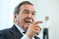 11 DEC 2019, HANNOVER/GERMANY:<br /> Gerhard Schroeder, SPD, Bundeskanzler a.D., waehrend einem Interview, im Buero seiner Anwaltskanzlei<br /> IMAGE: 20191211-01-023<br /> KEYWORDS: Gerhard Schröder, Büro