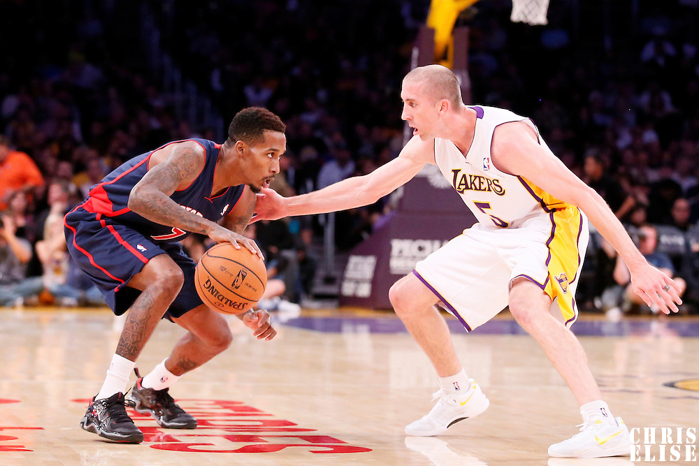 17 November 2013: Los Angeles Lakers point guard Steve Blake (5) defends on Detroit Pistons point guard Brandon Jennings (7) during the Los Angeles Lakers 114-99 victory over the Detroit Pistons at the Staples Center, Los Angeles, California, USA.
