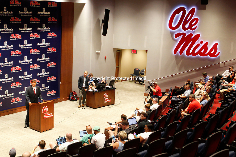 Matt Luke, Ole Miss Interim Head Football Coach, talks to the media at The Manning Center on the Univdrsity of Mississippi on Monday afternoon in Oxford.