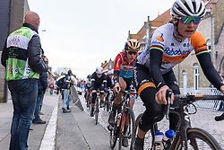 One lap to go, Christine Majerus (Boels Dolmans) is in Marianne Vos' wheel at Dwars door de Westhoek 2016. A 127km road race starting and finishing in Boezinge, Belgium on 24th April 2016.