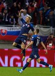 TRNAVA, SLOVAKIA - Thursday, October 10, 2019: Slovakia's Juraj Kucka celebrates scoring his side's equalising goal to level the score at 1-1 during the UEFA Euro 2020 Qualifying Group E match between Slovakia and Wales at the Štadión Antona Malatinského. (Pic by David Rawcliffe/Propaganda)