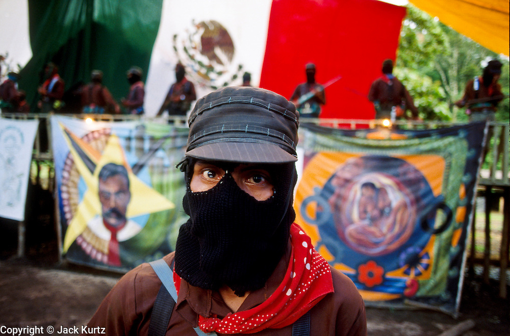 GUADALUPE TEPEYAC, CHIAPAS, MEXICO: A Zapatista guerilla in the Zapatista's temporary headquarters in Guadalupe Tepeyac, Chiapas, Mexico. PHOTO © JACK KURTZ   WAR  ZAPATISTAS  INDIGENOUS   HUMAN RIGHTS  MILITARY
