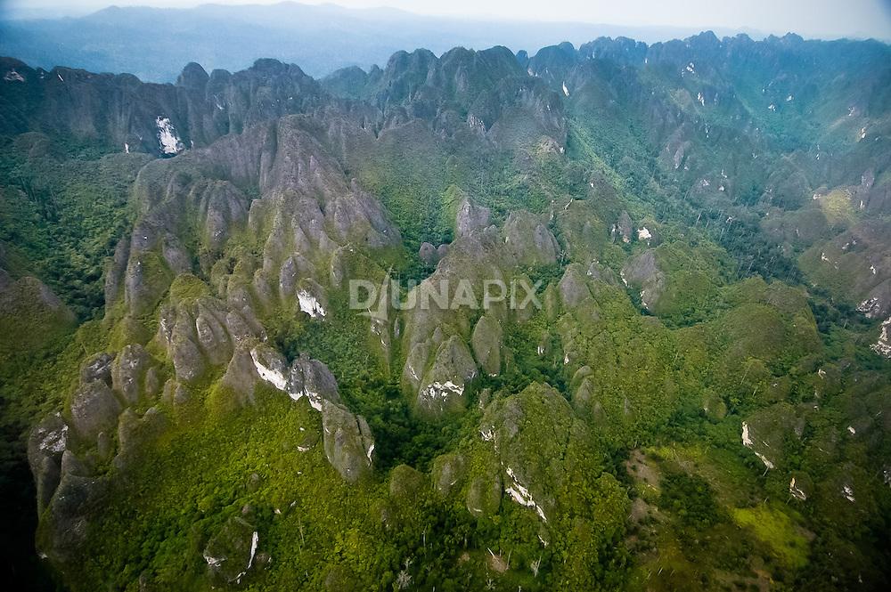 A spectacular field of cockpit karst between  Baai and Marang in the Sangkulirang region of East Kalimantan.