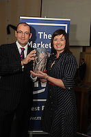 Patrick Brennan Snap Printing presenting  Patricia Lohan, Lohan's Bar and Restaurant Salthill  with her Marketing Through Irish Award during the Marketing Institute of Ireland West Region's Annual Awards at a gala awards attended by over 160 people in the Radisson Blu Hotel, Galway .  Photo:Andrew Downes. .