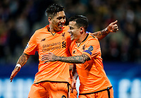 MARIBOR, SLOVENIA - OCTOBER 17: Roberto Firmino of Liverpool FC and Philippe Coutinho of Liverpool FC celebrate after scoring second goal for Liverpool during UEFA Champions League 2017/18 group E match between NK Maribor and Liverpool FC at Stadium Ljudski vrt, on October 17, 2017 in Maribor, Slovenia. (Photo by Vid Ponikvar / Sportida)
