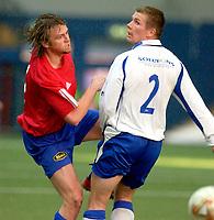 Vallhall 21.04.2003. Fotball herrer, 1. divisjon. Skeid Fotball mot FK Haugesund (3-1). Stig Kallestad (t.v) og Jostein Grindhaug.<br /> Foto: Geir Egil Skog, Digitalsport