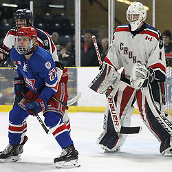 COCHRANE, ON - MAY 1: Tanner McEachern #27 of the Oakville Blades battles for position in front of the net with the Cochrane player on May 1, 2019 at Tim Horton Events Centre in Cochrane, Ontario, Canada.<br /> (Photo by Tim Bates / OJHL Images)