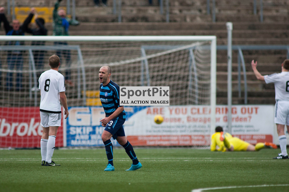 Iain Campbell celebratess scoring a goal in the Forfar Athletic v Ayr United Station Park, Forfar, 17 October 2015<br />