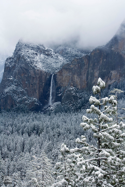Snowy View of Bridal Veil Falls in Yosemite Valley, California
