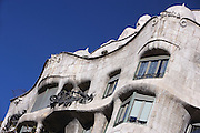 Closed and opened balconies; undulating Cornice; Ceramic roofs; Plaster Ceiling, Chimney, La Pedrera (Casa Milà), Barcelona, Catalonia, Spain, built by Antoni Gaudí (Reus 1852 ? Barcelona 1926), 1906 - 1910, for the Milà Family, with Josep Maria Jujol as architect collaborator and with Joan Beltran as a plaster. One of the main Gaudi residential buildings. Picture by Manuel Cohen
