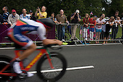 A cyclist races past fans lining the route through Bushy Park in south west London, during the London 2012 Olympic 44km men's cycling time trial, eventually won by Team GB's Bradley Wiggins.