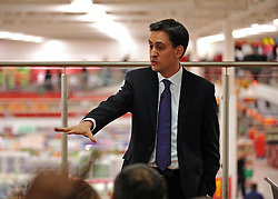 © Licensed to London News Pictures. 28/11/2011, Clapham, UK. ED MILIBAND, Leader of the Labour Party. holds a question and answer session in an Asda supermarket in Clapham, London, today 28 November 2011. The session is ahead of the Chancellors Autumn Statement tomorrow (29 Nov). Photo credit : Stephen Simpson/LNP