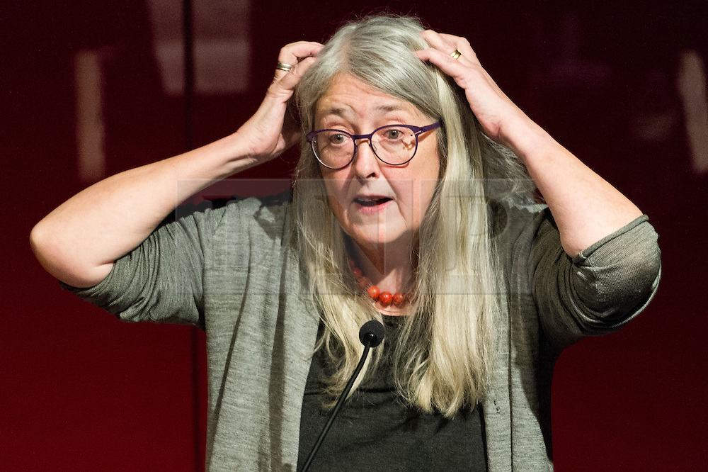 """© Licensed to London News Pictures. 03/03/2017. Professor of Classics at the University of Cambridge MARY BEARD, gives a British Museum lecture """"Women In Power"""" looking at the image and reality of women in power, from the myth of matriarchy to Theresa May. London, UK. Photo credit: Ray Tang/LNP"""