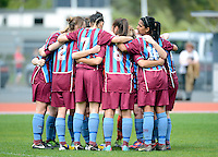 Football South regroup, prior to the ASB women's league match between Football South and Auckland Football, at the Caledonian Ground, Dunedin, New Zealand,  20 October 2013. Credit: Joe Allison / allisonimages.co.nz