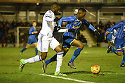 Toyosi Olusanya charges forward during the FA Youth Cup match between U18 AFC Wimbledon and U18 Chelsea at the Cherry Red Records Stadium, Kingston, England on 9 February 2016. Photo by Michael Hulf.