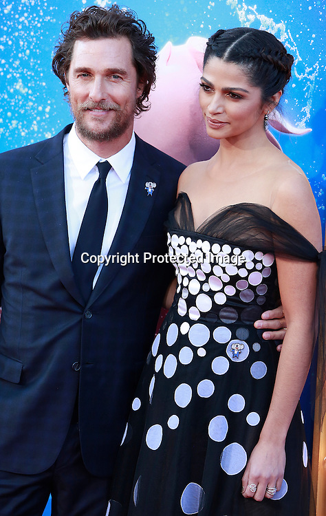 "Actor Matthew McConaughey and Camila Alves attend the premiere of Universal Studios ""Sing"" at Microsoft Theater at L.A. Live, Los Angeles, on December 3, 2016"
