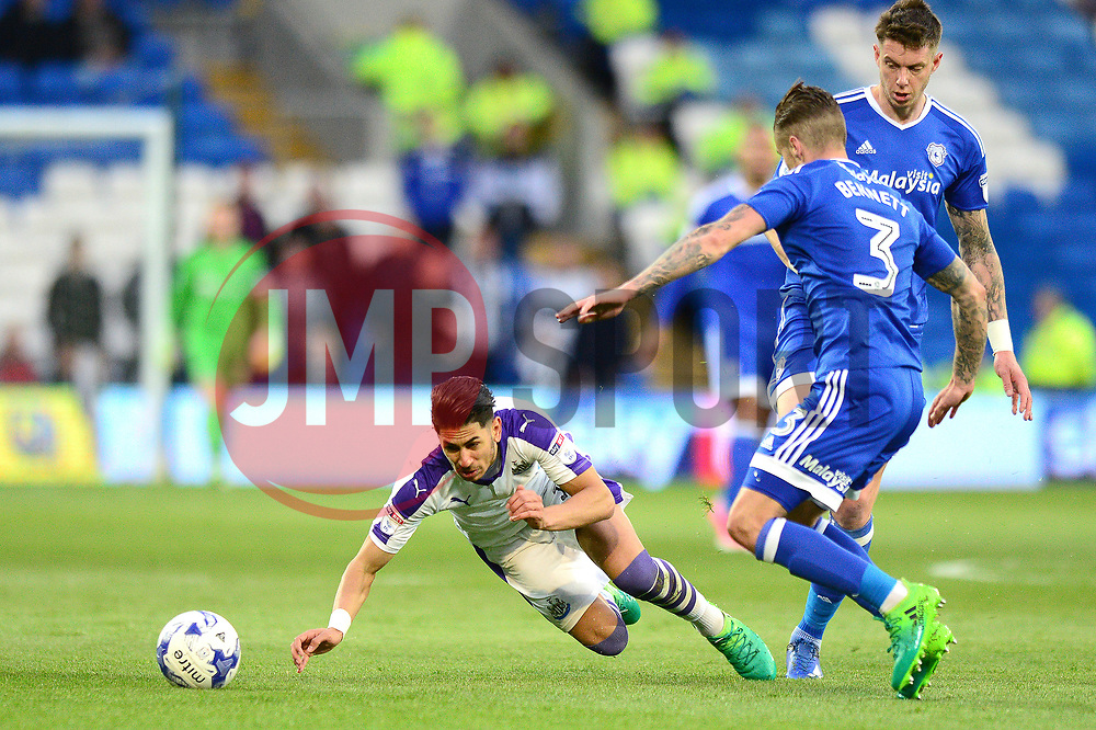Ayoze Perez of Newcastle United is fouled by Greg Halford of Cardiff City - Mandatory by-line: Dougie Allward/JMP - 28/04/2017 -  FOOTBALL - Cardiff City Stadium - Cardiff, Wales -  Cardiff City v Newcastle United - Sky Bet Championship