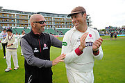 Matthew Maynard and Marcus Trescothick of Somerset on the parade around the County Ground after his teams win over Nottinghamshire the Specsavers County Champ Div 1 match between Somerset County Cricket Club and Nottinghamshire County Cricket Club at the Cooper Associates County Ground, Taunton, United Kingdom on 22 September 2016. Photo by Graham Hunt.