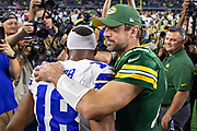 ARLINGTON, TX - OCTOBER 6:  Aaron Rodgers #12 of the Green Bay Packers hugs Randall Cobb #18 of the Dallas Cowboys at AT&T Stadium on October 6, 2019 in Arlington, Texas.  The Packers defeated the Cowboys 34-24.  (Photo by Wesley Hitt/Getty Images) *** Local Caption *** Aaron Rodgers; Randall Cobb