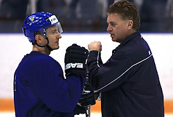 Ville Peltonen and head coach Doug Shedden at practice of Finland national team at Hockey IIHF WC 2008 in Halifax,  on May 04, 2008 in Forum Centre, Halifax, Nova Scotia, Canada.  (Photo by Vid Ponikvar / Sportal Images)