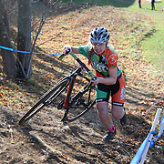 Competitors in action as they climb a hill in the Women's Open race during the The 3rd Annual Newtown Cyclocross Race in the Fairfield Hills and the Town's Municipal Center. Newtown, Connecticut, USA. 15th November 2015. Photo Tim Clayton
