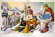 Waiting for the Verdict: Uncle Sam against pillar, Spain lies dead, France, Russia, Austria, Italy, Germany and Britain argue over deathbed.'History' waits to record verdict. In Spanish-American War, 1898, Spain lost her colonial empire.