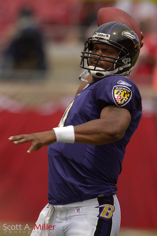 Sept. 10, 2006; Tampa, FL, USA; Baltimore Ravens quarterback Steve McNair during pregame warm ups prior to playing the Tampa Bay Buccaneers  at Raymond James Stadium. ©2006 Scott A. Miller