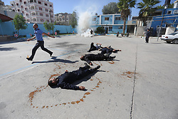 November 1, 2018 - Gaza, Gaza Strip, Palestinian Territory - Palestinian policemen take part in a drill, organized by Ministry of Interior and National Security, in Gaza city.  (Credit Image: © Ashraf Amra/APA Images via ZUMA Wire)