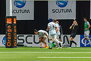 Teddy Thomas (rac) scored a try during the French Championship Top 14 Rugby Union match between Racing 92 and Stade Francais Paris on march 17, 2018 at U Arena in Nanterre, France - Photo Pierre Charlier / ProSportsImages / DPPI