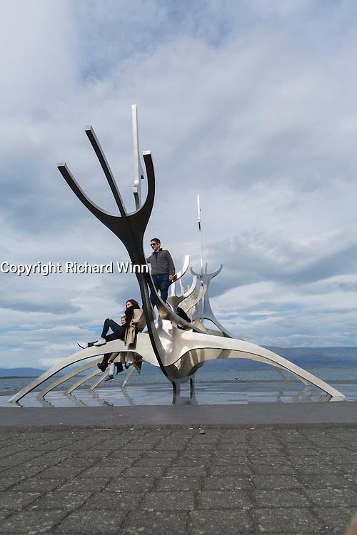 Sólfar or Sun Voyager, a sculpture by Jón Gunnar Árnason, in the harbour area of Reyjavik.