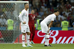 (l-r) Cristiano Ronaldo of Portugal, Pepe of Portugal during the 2018 FIFA World Cup Russia round of 16 match between Uruguay and at the Fisht Stadium on June 30, 2018 in Sochi, Russia