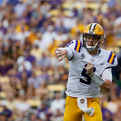 Sep 8, 2018; Baton Rouge, LA, USA; LSU Tigers quarterback Joe Burrow (9) throws against the Southeastern Louisiana Lions during the first quarter of a game at Tiger Stadium. Mandatory Credit: Derick E. Hingle-USA TODAY Sports