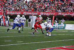 17 October 2009:  Eyad Salem is confronted but avoids Alex Sewall.  Sewall was the last defender between Salem and the goal line. The Indiana State Sycamores tumble to the Illinois State Redbirds 38-21 at Hancock Stadium on campus of Illinois State University in Normal Illinois