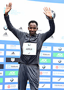 Guye Adola (ETH) poses after placing second in 2:03.46 in the 44th Berlin Marathon in Berlin, Germany on Sunday, September 24, 2017. (Jiro Mochizuki/Image of Sport)