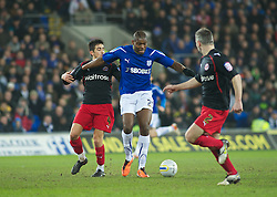 CARDIFF, WALES - Tuesday, February 1, 2011: Cardiff City's Jay Emmanuel-Thomas takes on two of the Reading defence during the Football League Championship match at the Cardiff City Stadium. (Photo by Gareth Davies/Propaganda)