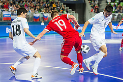 Serik Zhamankulov of Kazakhstan during futsal match between Russia and Kazakhstan in Third place match of UEFA Futsal EURO 2018, on February 10, 2018 in Arena Stozice, Ljubljana, Slovenia. Photo by Ziga Zupan / Sportida