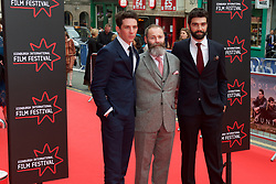 Left to right, Josh O'Connor, Francis Lee ( Writer and Director) Alec Secareanu on the red carpet at the Edinburgh International Film Festival Opening Night Gala opens with the UK  Premier of God's Own Country directed by Francis Lee at Edinburgh's Festival Theatre. Wednesday 21st June 2017(c) Brian Anderson | Edinburgh Elite media