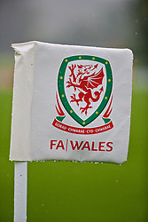 CARDIFF, WALES - Saturday, September 3, 2016: A Wales corner flag during a training session at the Vale Resort ahead of the 2018 FIFA World Cup Qualifying Group D match against Moldova. (Pic by David Rawcliffe/Propaganda)