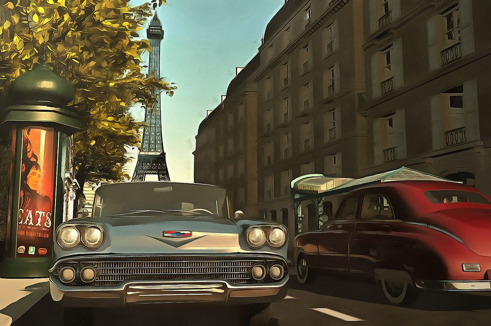 Two things that are wonderfully romantic to many of us: The streets of Paris on a beautiful late-afternoon, and classic sports cars from days gone by. This lovely piece brings both of these iconic elements together. The end result is a city scene that will take your heart, as easily as it will take you to your own version of this scene. We all dream of getting away. We all imagine living in an extraordinary city, and driving a beautiful car. This piece is available as wall art, and it is also available on t-shirts. This piece can also be purchased on several interior décor products. .<br />