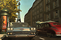Two things that are wonderfully romantic to many of us: The streets of Paris on a beautiful late-afternoon, and classic sports cars from days gone by. This lovely piece brings both of these iconic elements together. The end result is a city scene that will take your heart, as easily as it will take you to your own version of this scene. We all dream of getting away. We all imagine living in an extraordinary city, and driving a beautiful car. This piece is available as wall art, and it is also available on t-shirts. This piece can also be purchased on several interior décor products.