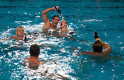 VK Rokava Koper celebrate after the water polo match between ASD Vaterpolo Rokava Koper and AVK Triglav Kranj in 3rd Round of Final of Slovenian Water polo National Championship, on June 8, 2011 in Zusterna pool, Koper, Slovenia. Rokava Koper defeated Triglav Kranj 12-6 and became Slovenian Champion 2011. (Photo By Vid Ponikvar / Sportida.com)