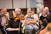 Deal Festival 2017: The Castalian Quartet, featuring Sini Simonen (violin), Daniel Roberts (violin), Charlotte Bonneton (viola) and Christopher Graves (cello). A wonderfully intimate performance in the round, with music by Haydn, Ravel and Schubert, in the beautiful setting of St. Mary's Art Centre, Sandwich. © Tony Nandi 2017