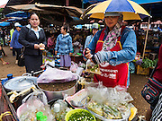 16 JUNE 2016 - PAKSE, CHAMPASAK, LAOS: A soup vendor, right, makes a take out order of noodle soup for a customer, left, in Dao Heuang Market, the largest market in Pakse. Pakse is the capital of Champasak province in southern Laos. It sits at the confluence of the Xe Don and Mekong Rivers. It's the gateway city to 4,000 Islands, near the border of Cambodia and the coffee growing highlands of southern Laos.      PHOTO BY JACK KURTZ