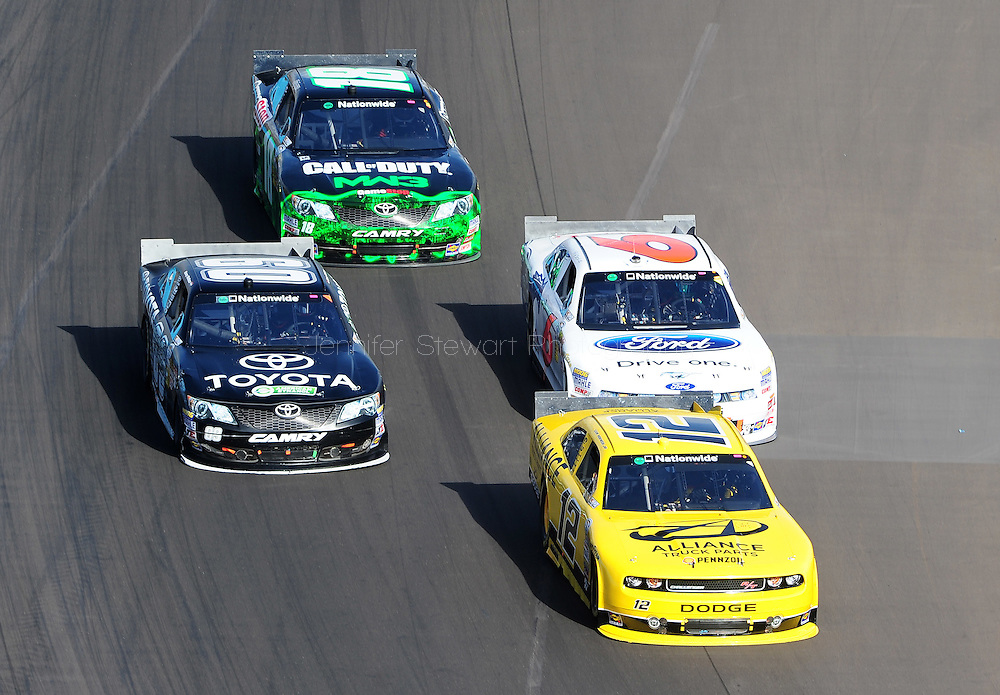 Nov. 12 2011; Avondale, AZ, USA; NASCAR Nationwide Series driver Sam Hornish Jr. leads Carl Edwards (60) , Ricky Stenhouse Jr. (6) and Joey Logano (18) during the Wypall 200 at Phoenix International Raceway. Mandatory Credit: Jennifer Stewart-US PRESSWIRE