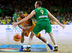 Bo McCalebb of Macedonia vs Darius Songaila of Lithuania during basketball game between National basketball teams of F.Y.R. of Macedonia and Lithuania at Quarterfinals of FIBA Europe Eurobasket Lithuania 2011, on September 14, 2011, in Arena Zalgirio, Kaunas, Lithuania. Macedonia defeated Lithuania 67-65. (Photo by Vid Ponikvar / Sportida)