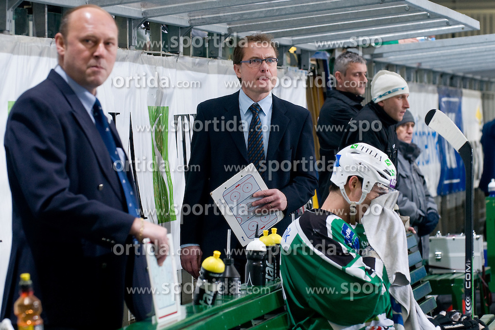 Head Coach Hannu Jarvenpaa on a bench of HDD Tilia Olimpija during ice-hockey match between HDD Tilia Olimpija and EC Rekord-Fenster VSV in 31st Round of EBEL league, on December 28, 2010 at Hala Tivoli, Ljubljana, Slovenia. (Photo By Matic Klansek Velej / Sportida.com)